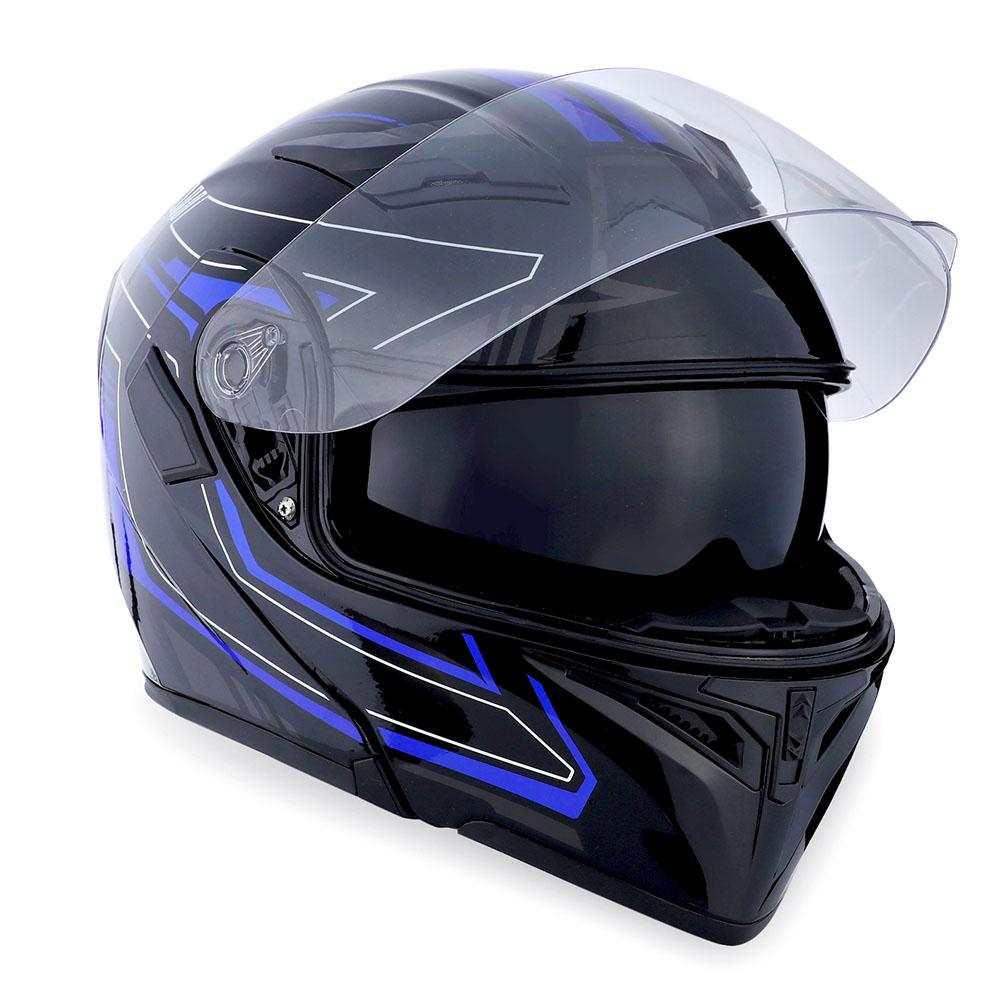 1Storm Motorcycle Modular Flip up Full Face Helmet Dual Visor Arrow Blue