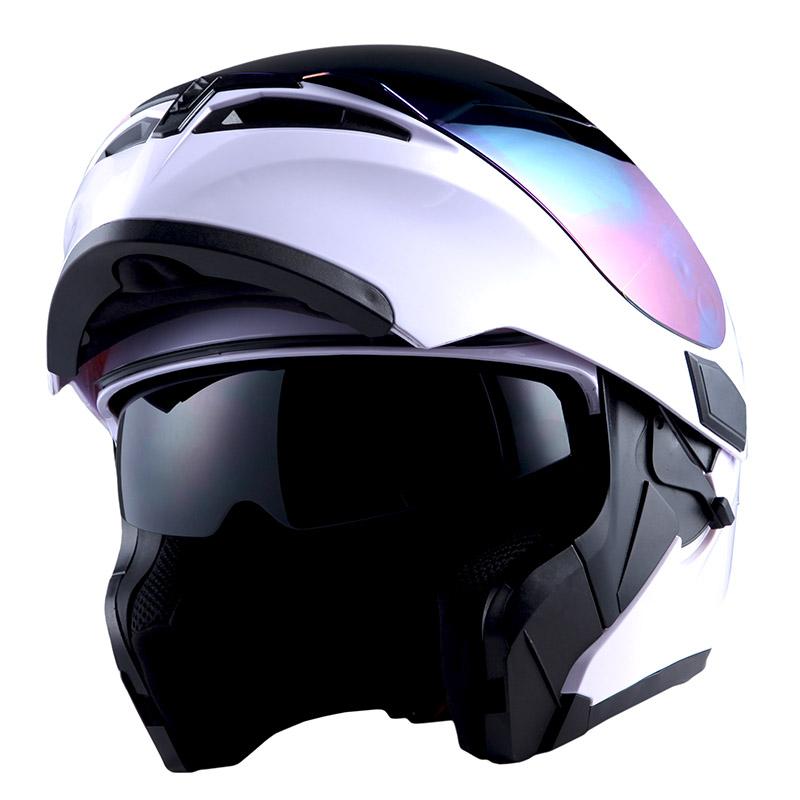 1Storm Motorcycle Full Face Helmet Modular Flip up Dual Shield Inner Sun Visor