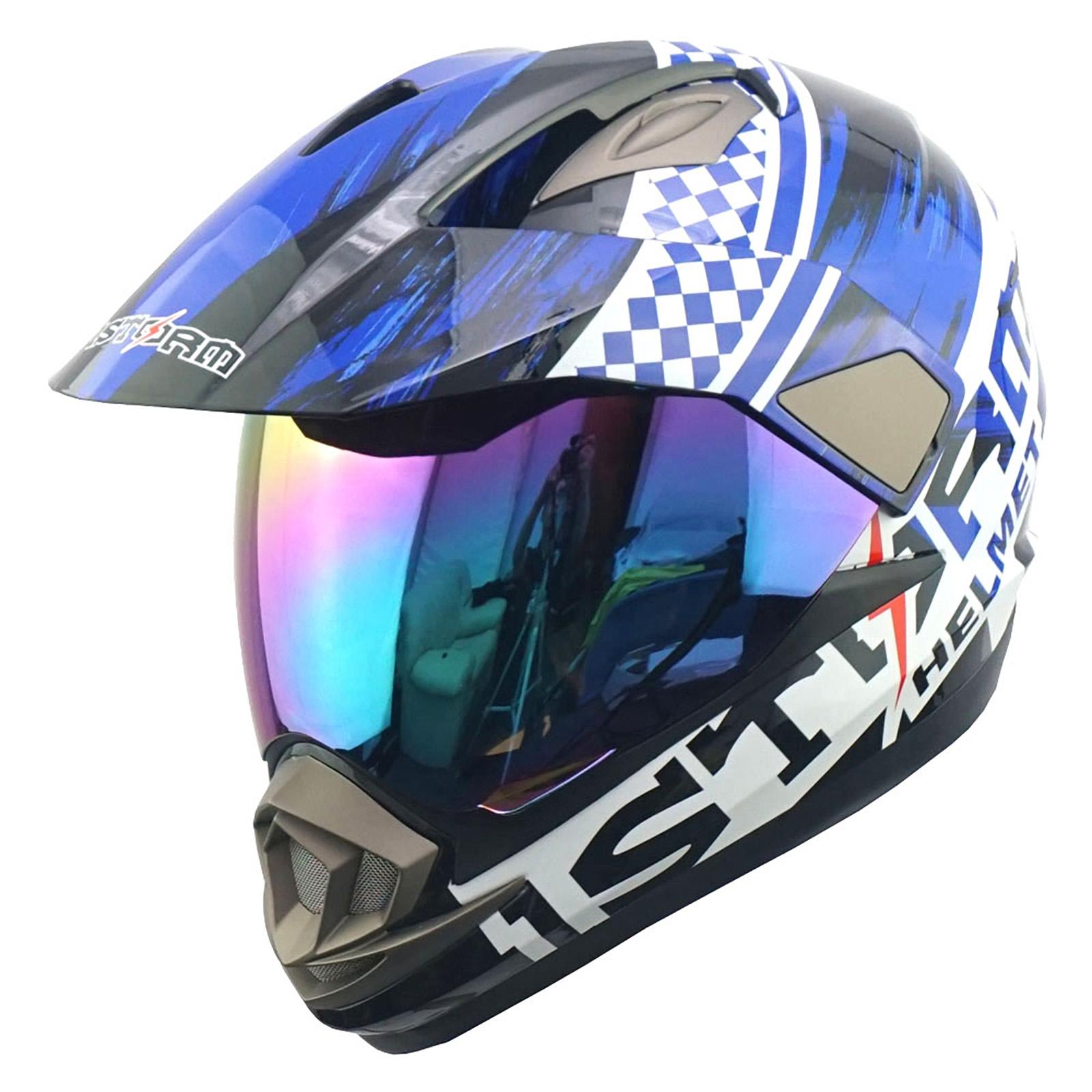 New Dual Sport Motorcycle Motocross MX ATV Dirt Bike Full Face Helmet Storm Blue