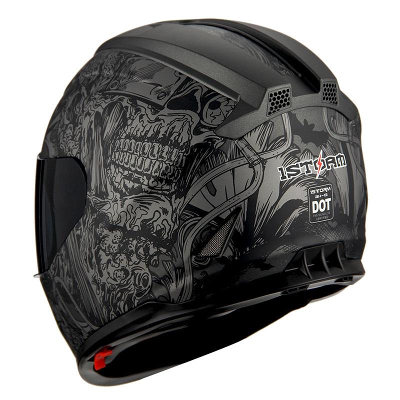 1Storm Motorcycle Full Face Helmet Dual Lens Sun Visor Matt Skull Monster HJAH15