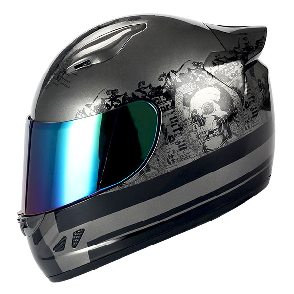 1STORM MOTORCYCLE BIKE FULL FACE HELMET MECHANIC SKULL BLACK BLUE GREEN PINK RED