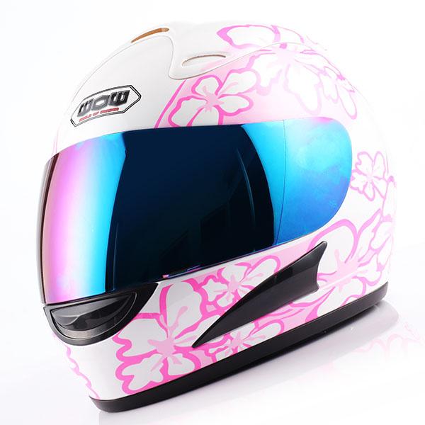 New Dot Adult Motorcycle Full Face Helmet White Women Pink