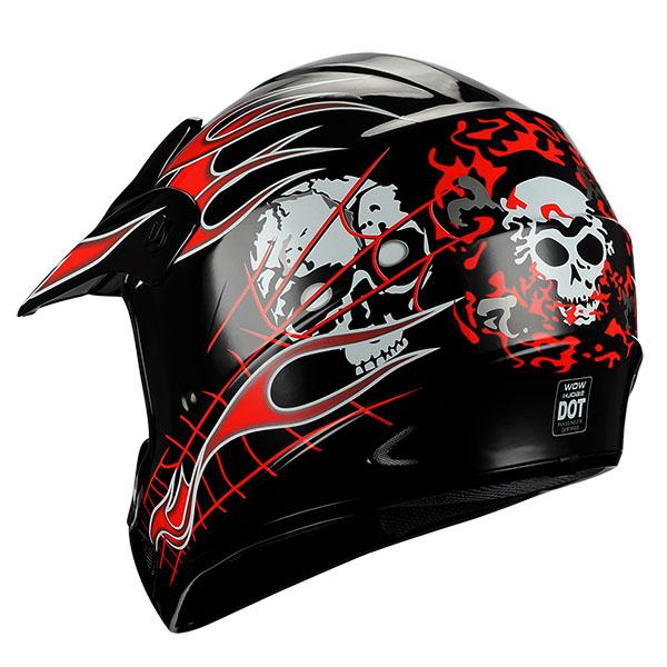 Youth Dirt Bike Boots >> New Adult Motocross Helmet MX BMX ATV Dirt Bike Skull Flame Red Black S M L XL | eBay