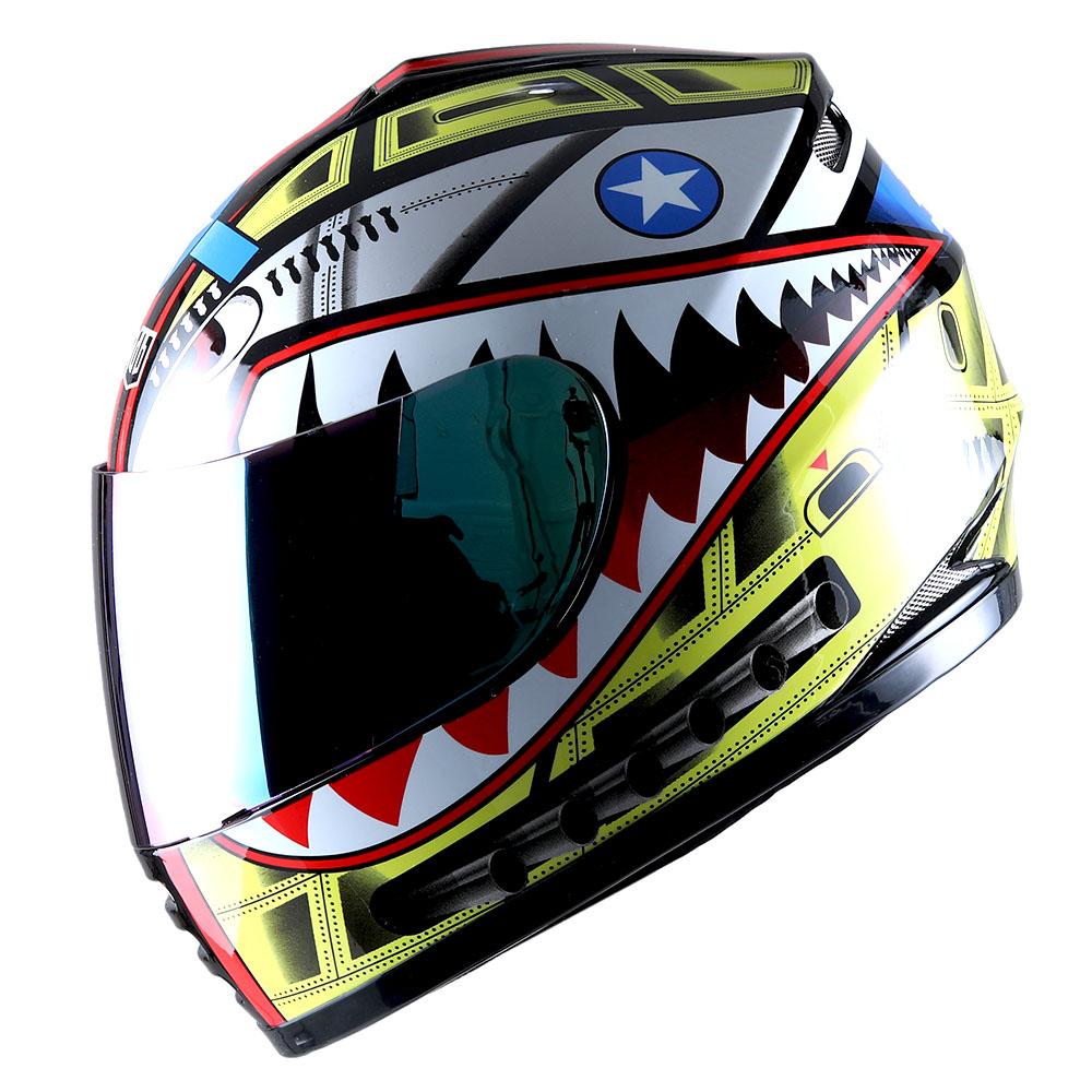 DOT Motorcycle Youth Full Face Helmet Kids Bike Shark Marine Black Blue Red Pink